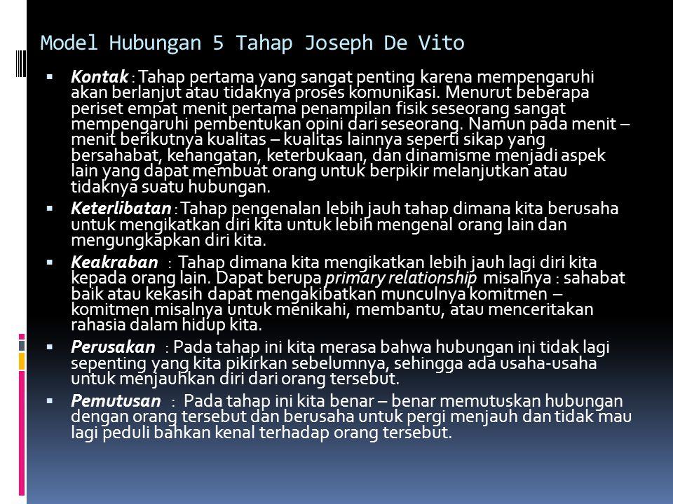 Model Hubungan 5 Tahap Joseph De Vito
