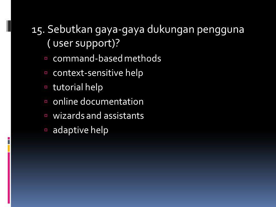 15. Sebutkan gaya-gaya dukungan pengguna ( user support)