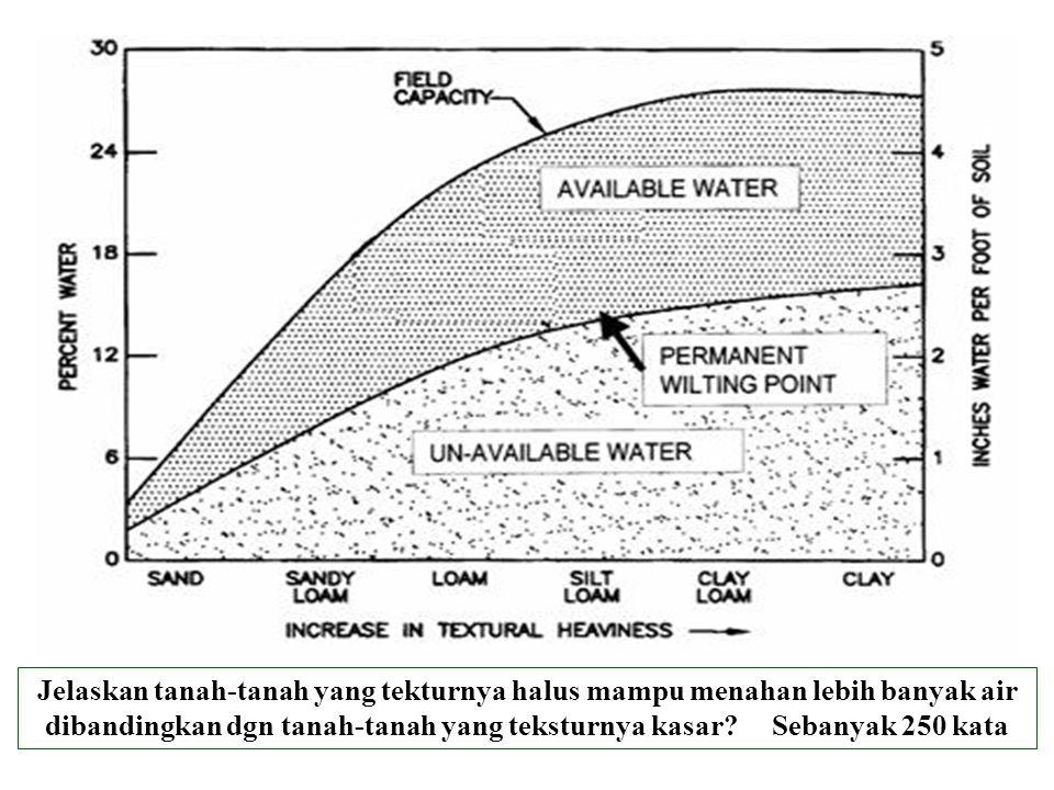 Jelaskan tanah-tanah yang tekturnya halus mampu menahan lebih banyak air dibandingkan dgn tanah-tanah yang teksturnya kasar.