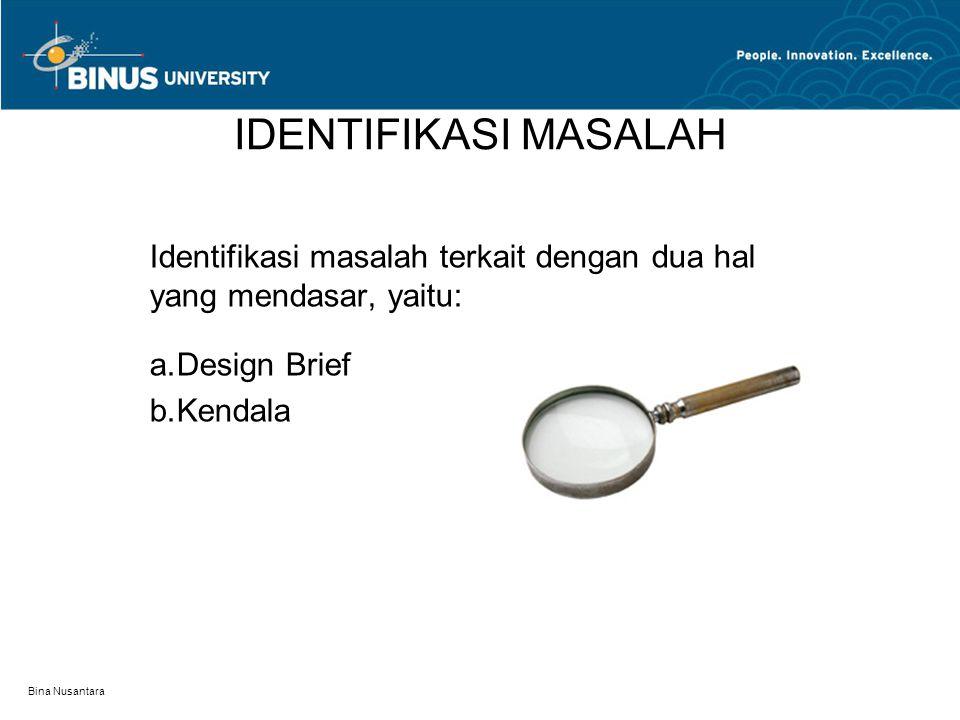 IDENTIFIKASI MASALAH Identifikasi masalah terkait dengan dua hal yang mendasar, yaitu: Design Brief.