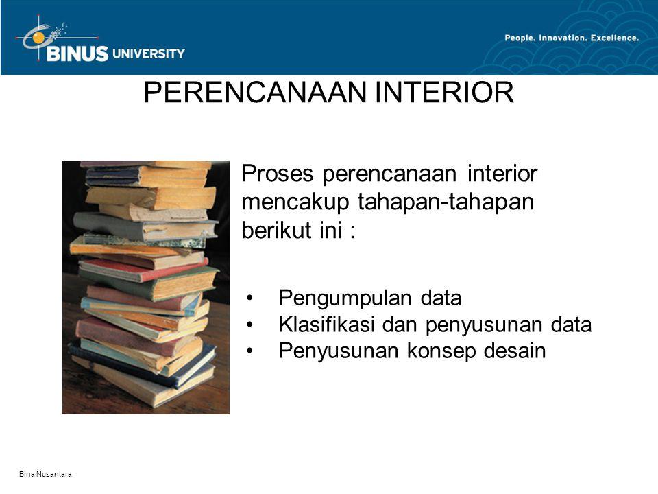 PERENCANAAN INTERIOR Proses perencanaan interior mencakup tahapan-tahapan berikut ini : Pengumpulan data.