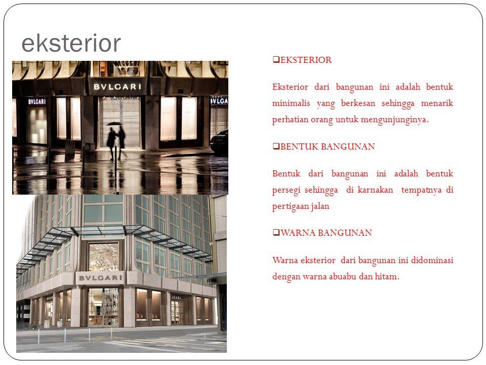 eksterior EKSTERIOR. Eksterior dari bangunan ini adalah bentuk minimalis yang berkesan sehingga menarik perhatian orang untuk mengunjunginya.