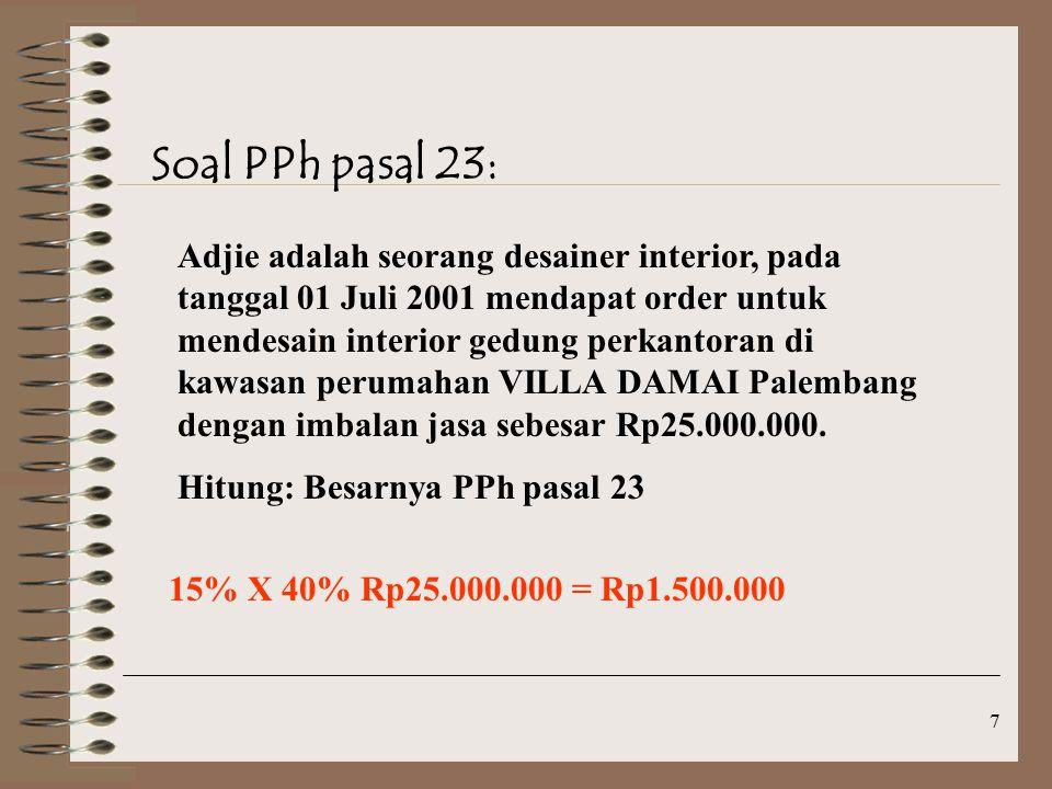 Soal PPh pasal 23: