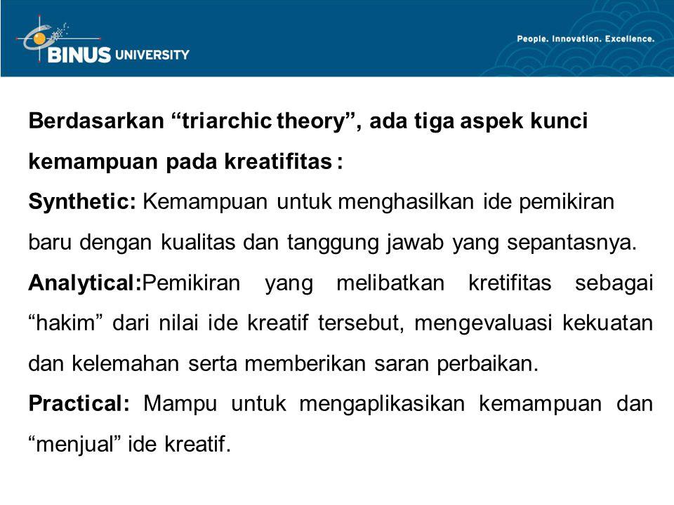 Berdasarkan triarchic theory , ada tiga aspek kunci kemampuan pada kreatifitas :