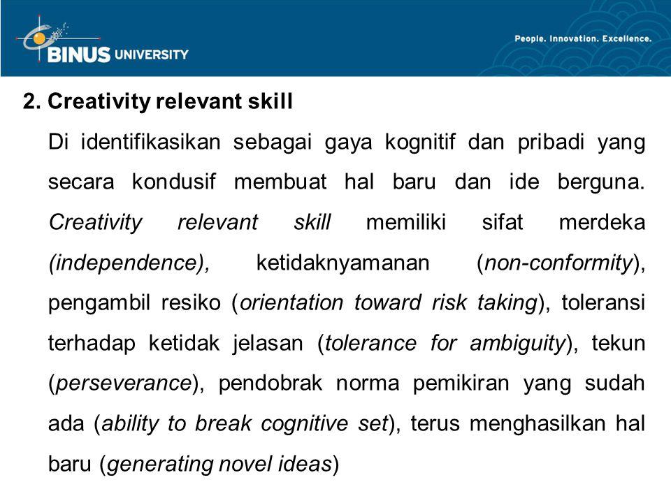 2. Creativity relevant skill
