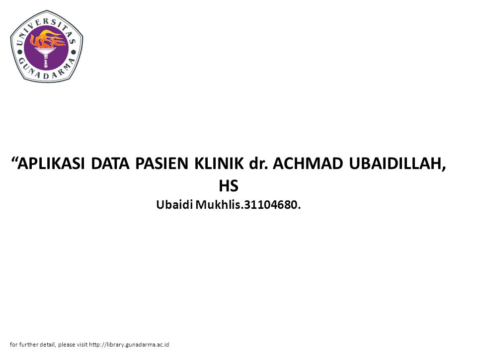 APLIKASI DATA PASIEN KLINIK dr. ACHMAD UBAIDILLAH, HS Ubaidi Mukhlis