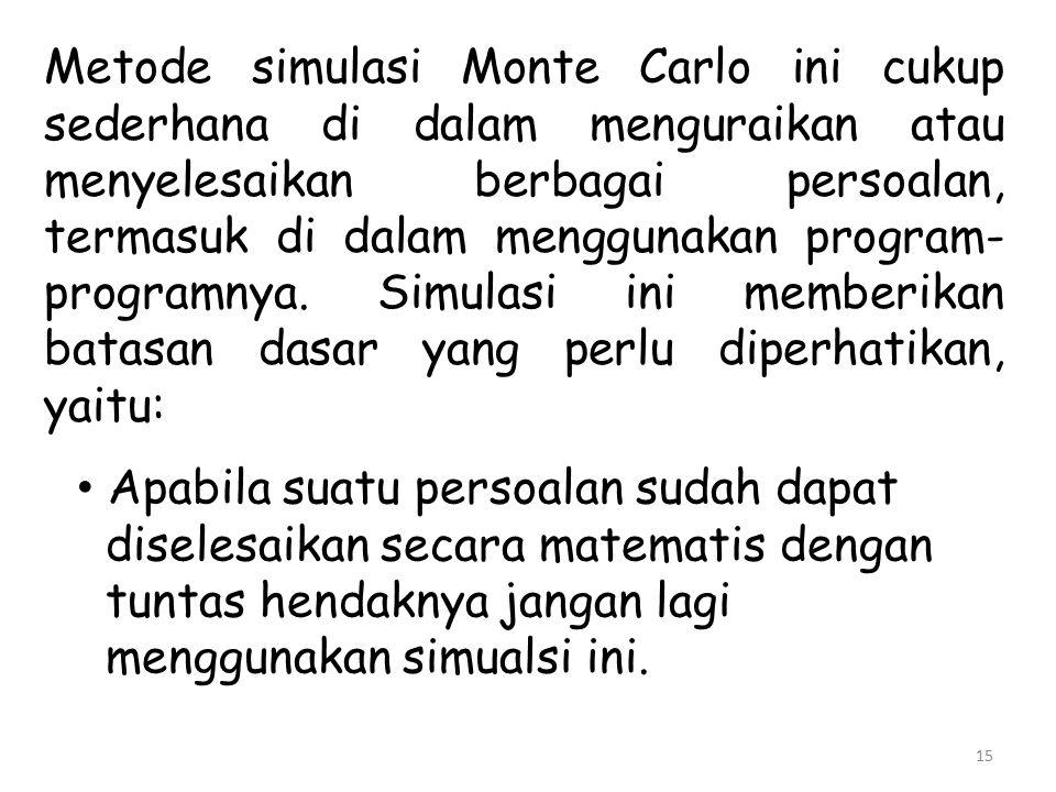 Metode simulasi Monte Carlo ini cukup sederhana di dalam menguraikan atau menyelesaikan berbagai persoalan, termasuk di dalam menggunakan program-programnya. Simulasi ini memberikan batasan dasar yang perlu diperhatikan, yaitu: