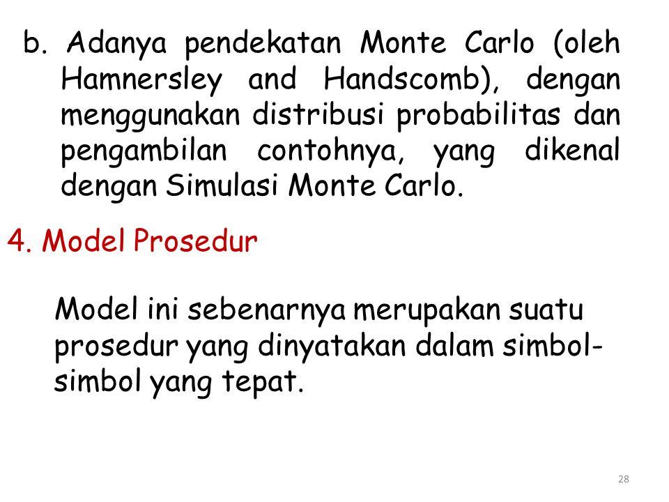 b. Adanya pendekatan Monte Carlo (oleh Hamnersley and Handscomb), dengan menggunakan distribusi probabilitas dan pengambilan contohnya, yang dikenal dengan Simulasi Monte Carlo.