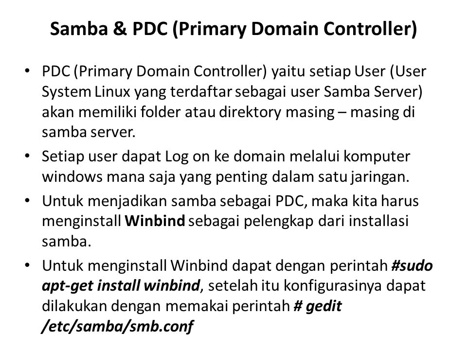 Samba & PDC (Primary Domain Controller)