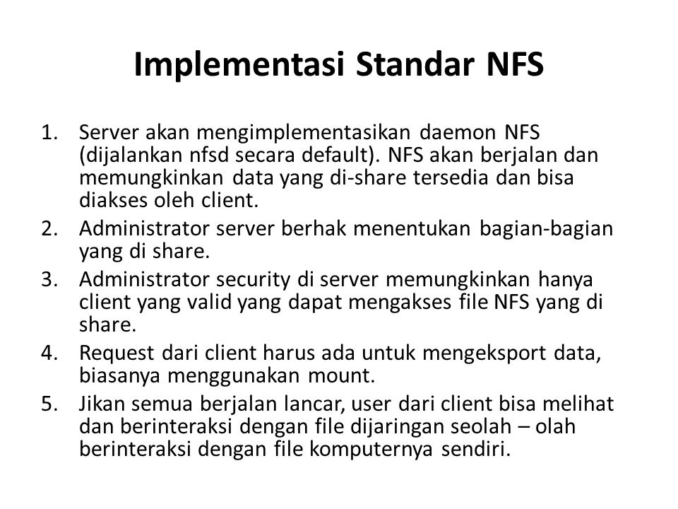 Implementasi Standar NFS