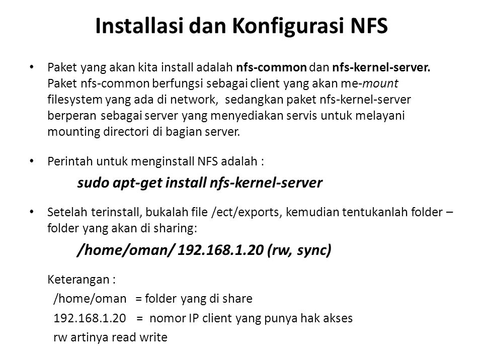 Installasi dan Konfigurasi NFS