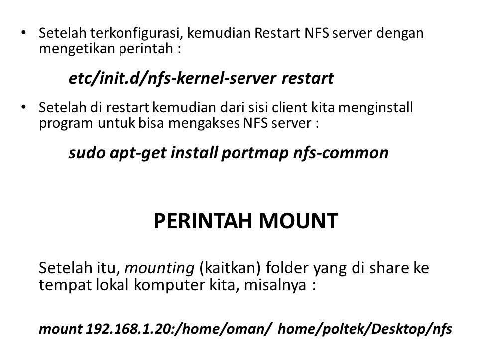 mount 192.168.1.20:/home/oman/ home/poltek/Desktop/nfs