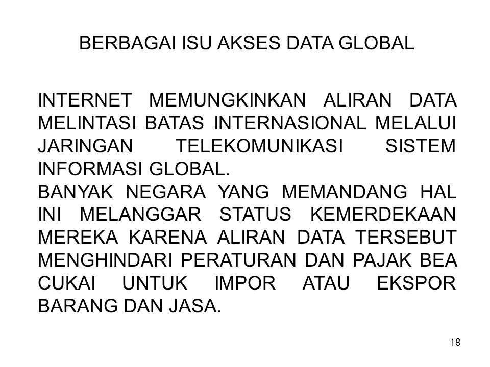 BERBAGAI ISU AKSES DATA GLOBAL