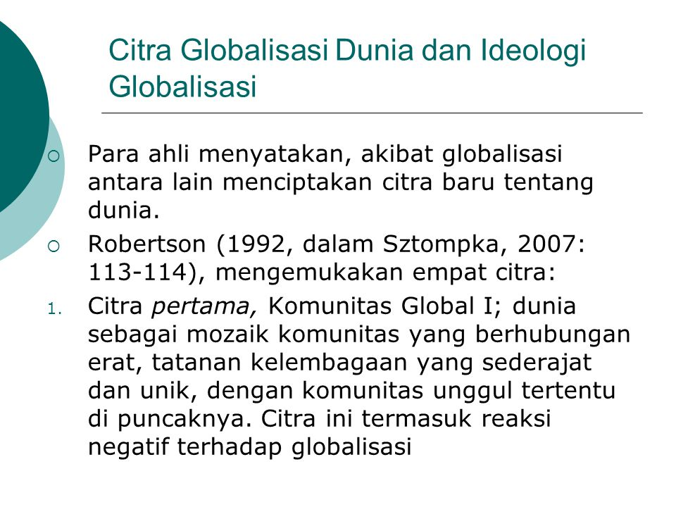 Citra Globalisasi Dunia dan Ideologi Globalisasi