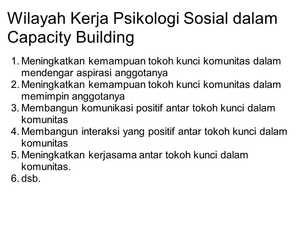 Wilayah Kerja Psikologi Sosial dalam Capacity Building