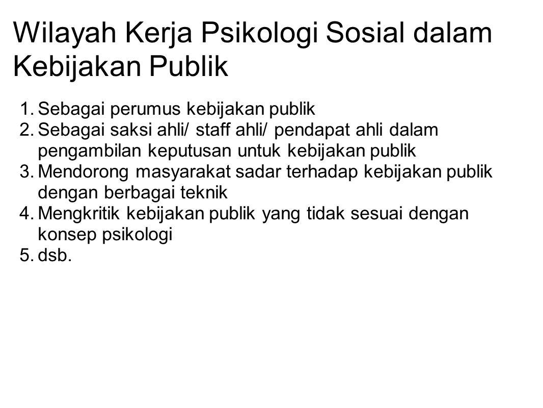 Wilayah Kerja Psikologi Sosial dalam Kebijakan Publik