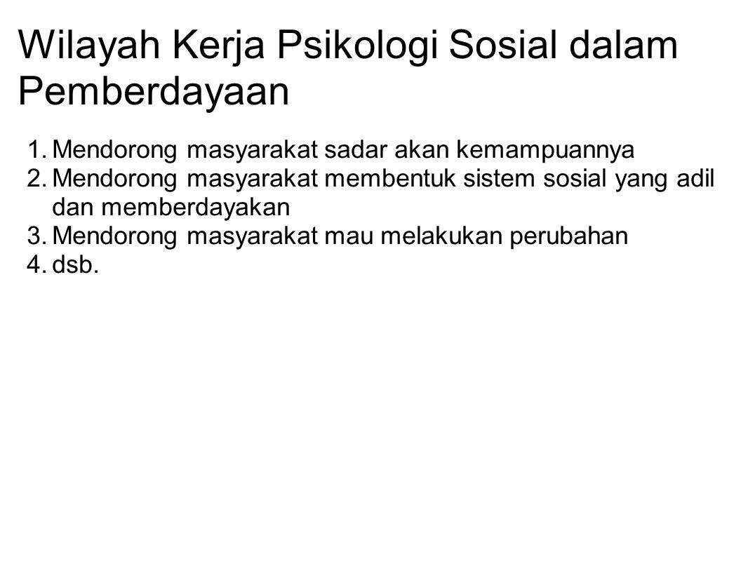 Wilayah Kerja Psikologi Sosial dalam Pemberdayaan