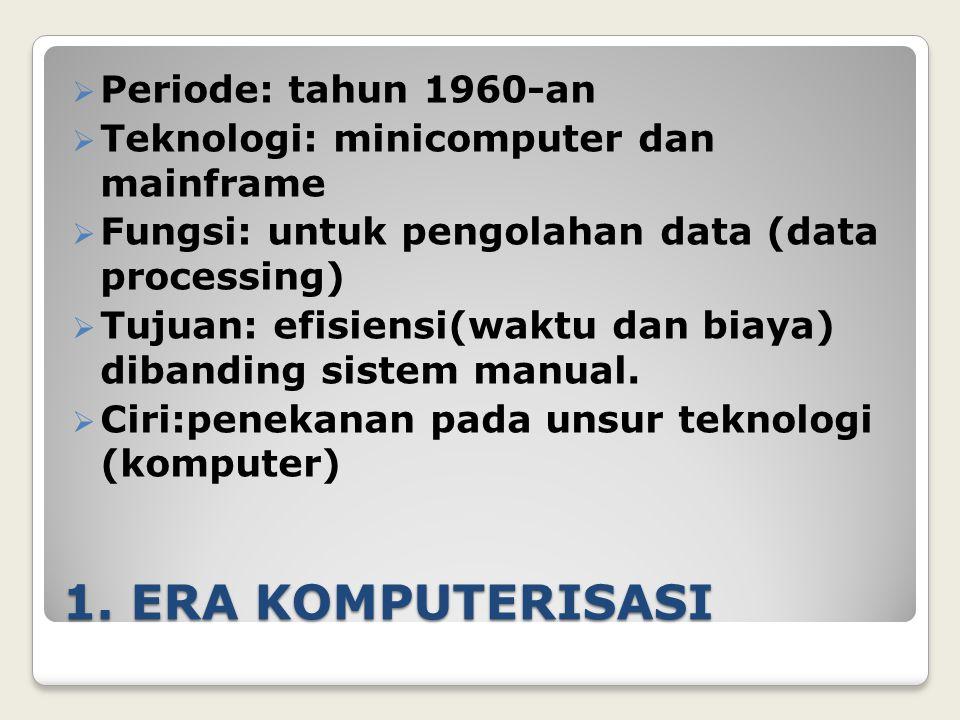 1. ERA KOMPUTERISASI Periode: tahun 1960-an