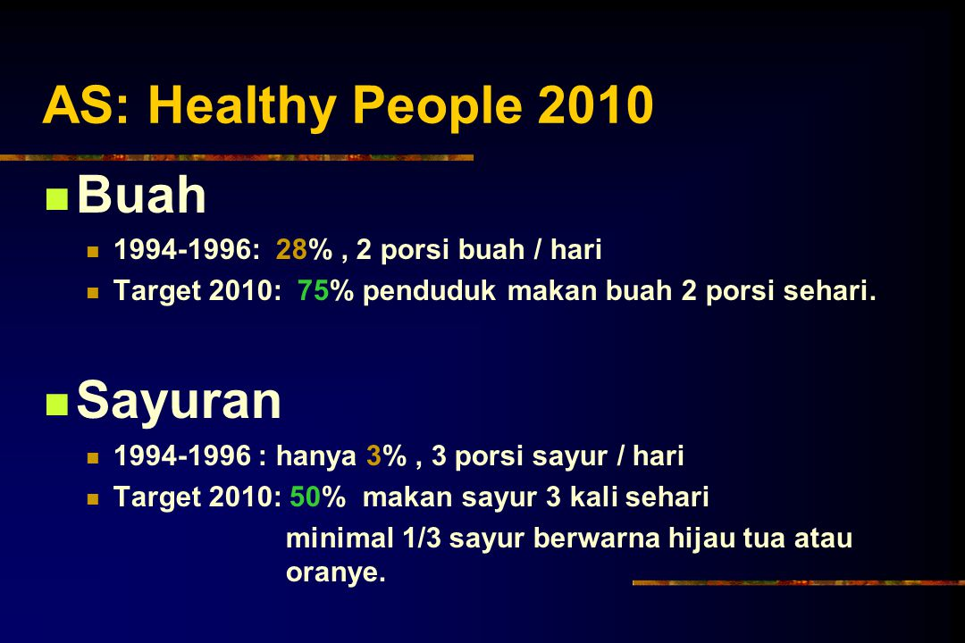 AS: Healthy People 2010 Buah Sayuran