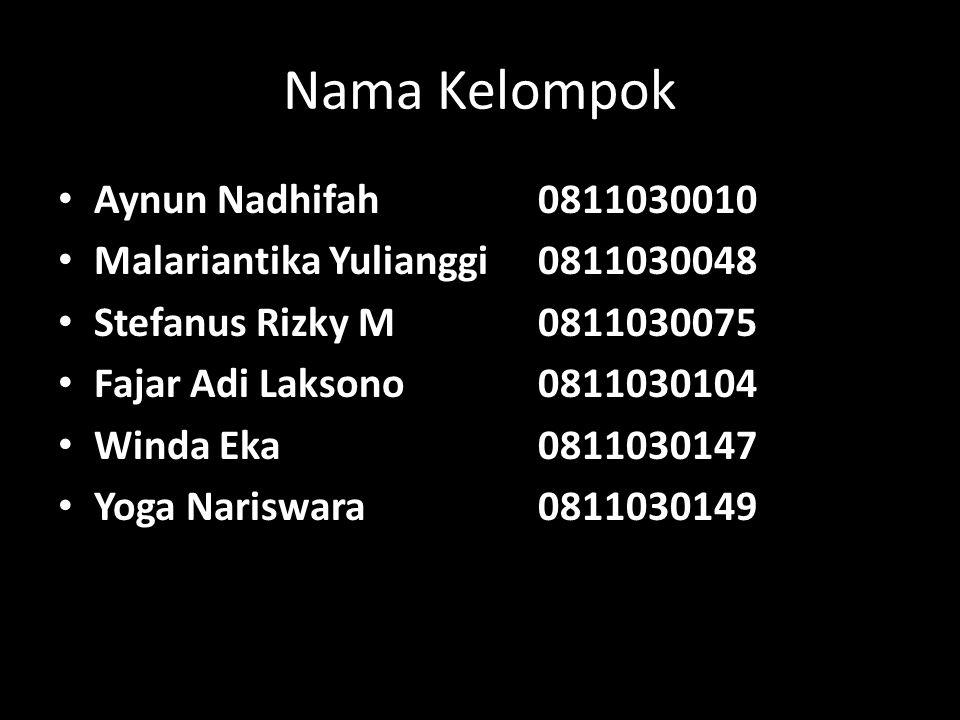 Nama Kelompok Aynun Nadhifah 0811030010