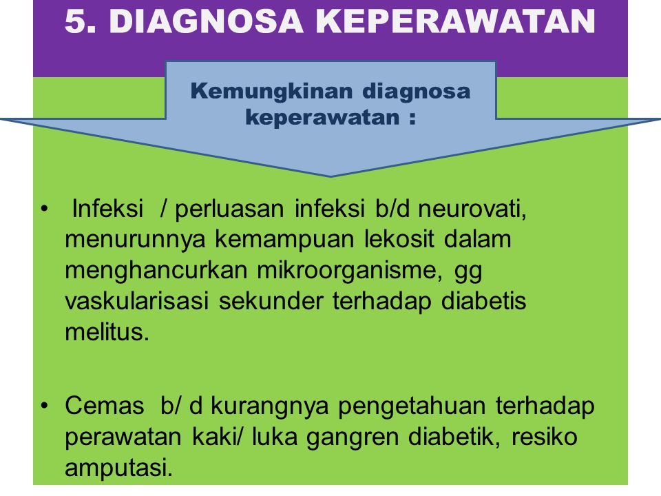 Kemungkinan diagnosa keperawatan :