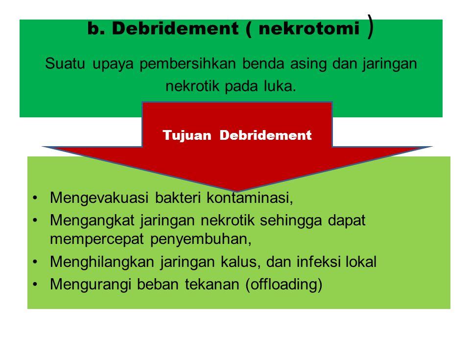 b. Debridement ( nekrotomi ) Suatu upaya pembersihkan benda asing dan jaringan nekrotik pada luka.