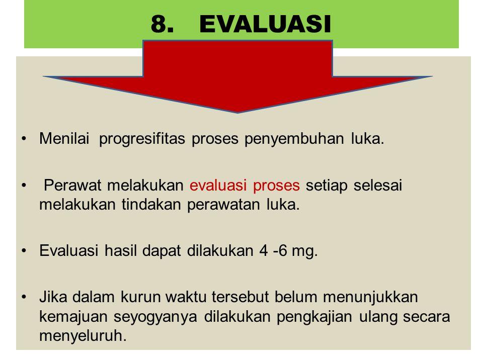8. EVALUASI Menilai progresifitas proses penyembuhan luka.