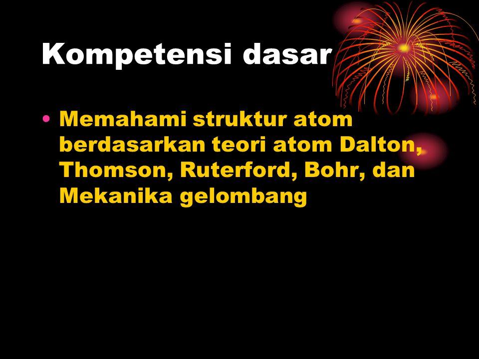 Kompetensi dasar Memahami struktur atom berdasarkan teori atom Dalton, Thomson, Ruterford, Bohr, dan Mekanika gelombang.