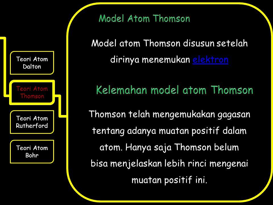 Kelemahan model atom Thomson