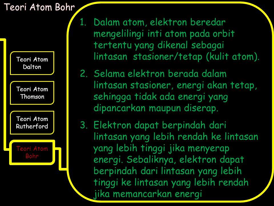 Teori Atom Bohr Dalam atom, elektron beredar mengelilingi inti atom pada orbit tertentu yang dikenal sebagai lintasan stasioner/tetap (kulit atom).