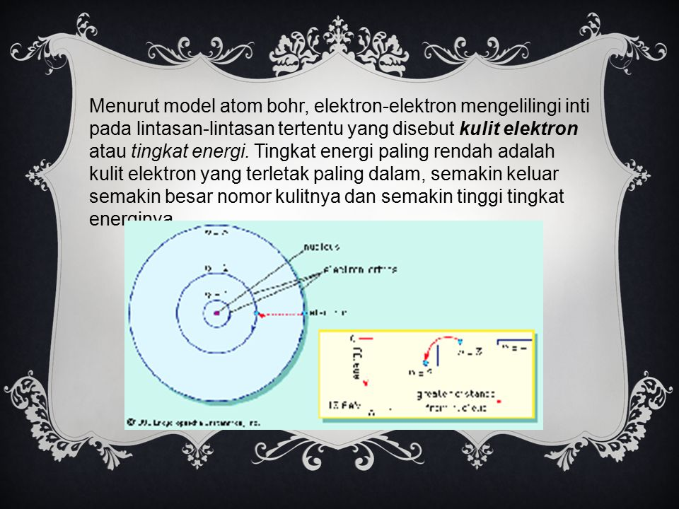 Menurut model atom bohr, elektron-elektron mengelilingi inti pada lintasan-lintasan tertentu yang disebut kulit elektron atau tingkat energi.