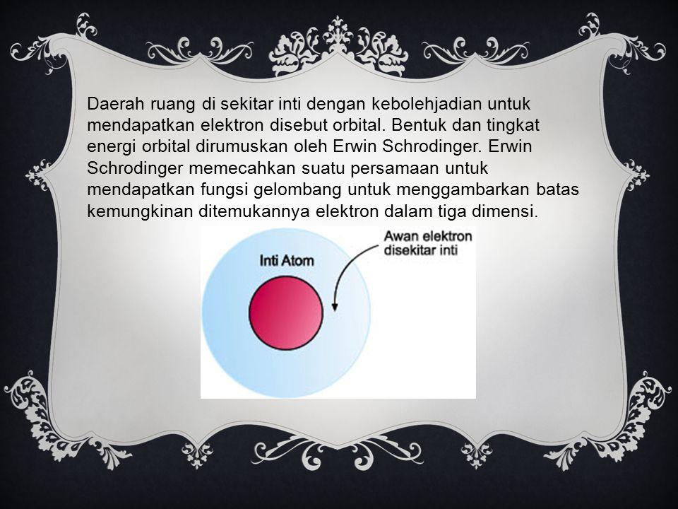 Daerah ruang di sekitar inti dengan kebolehjadian untuk mendapatkan elektron disebut orbital.