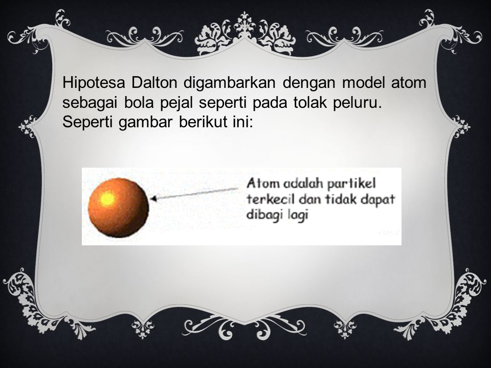 Hipotesa Dalton digambarkan dengan model atom sebagai bola pejal seperti pada tolak peluru.