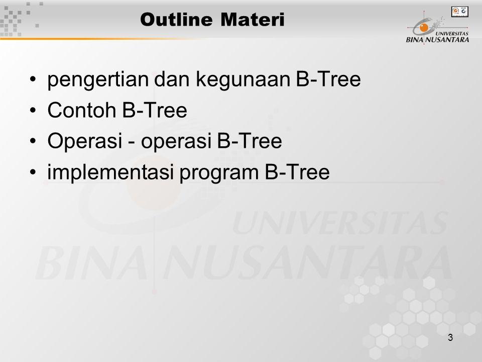 pengertian dan kegunaan B-Tree Contoh B-Tree Operasi - operasi B-Tree