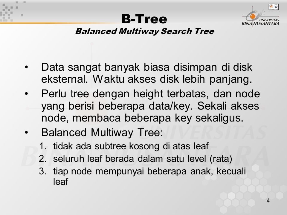 B-Tree Balanced Multiway Search Tree