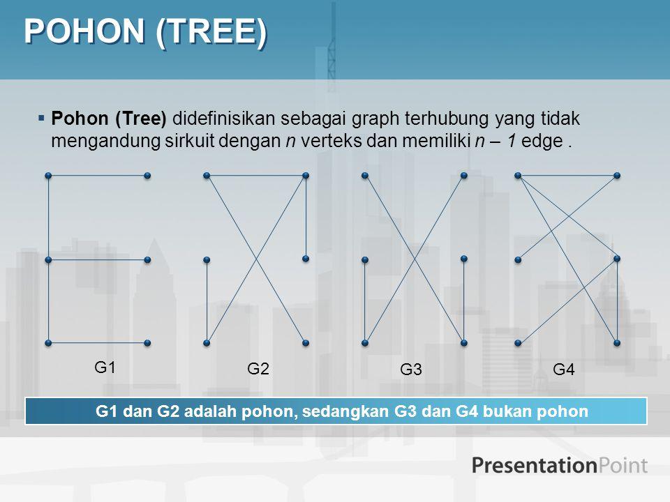 G1 dan G2 adalah pohon, sedangkan G3 dan G4 bukan pohon
