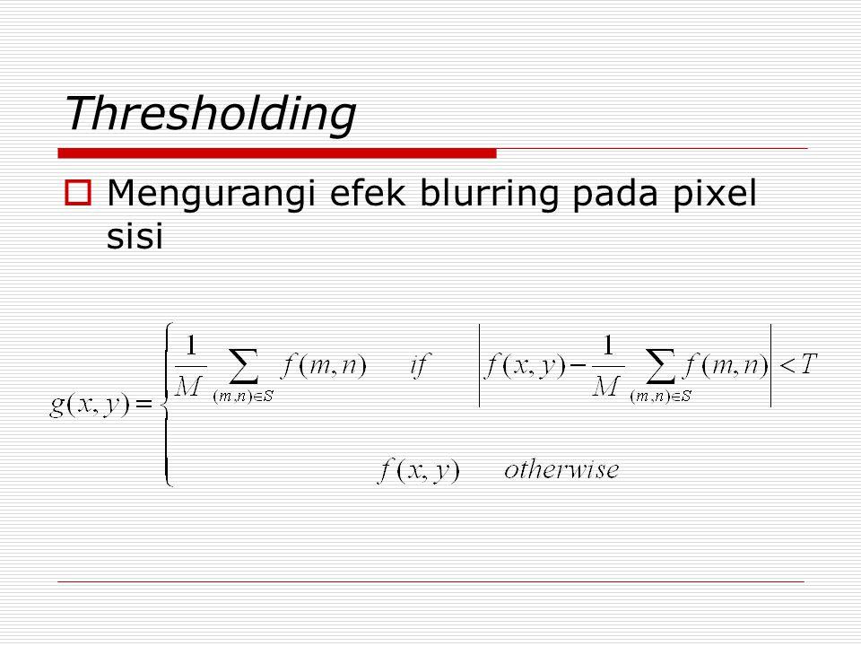 Thresholding Mengurangi efek blurring pada pixel sisi