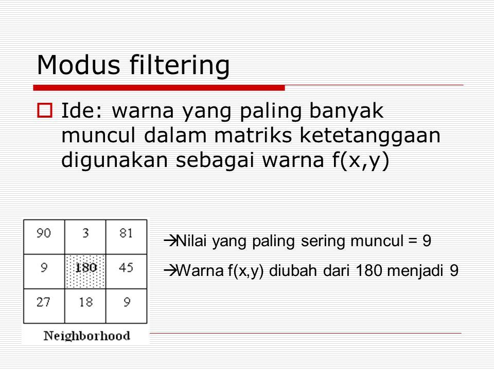 Modus filtering Ide: warna yang paling banyak muncul dalam matriks ketetanggaan digunakan sebagai warna f(x,y)