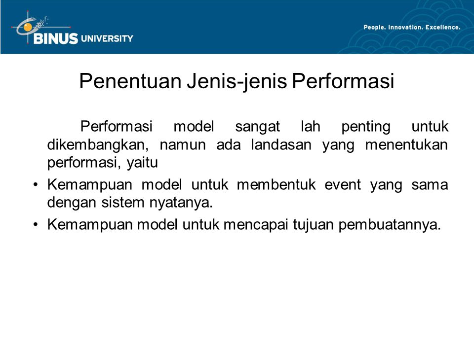 Penentuan Jenis-jenis Performasi