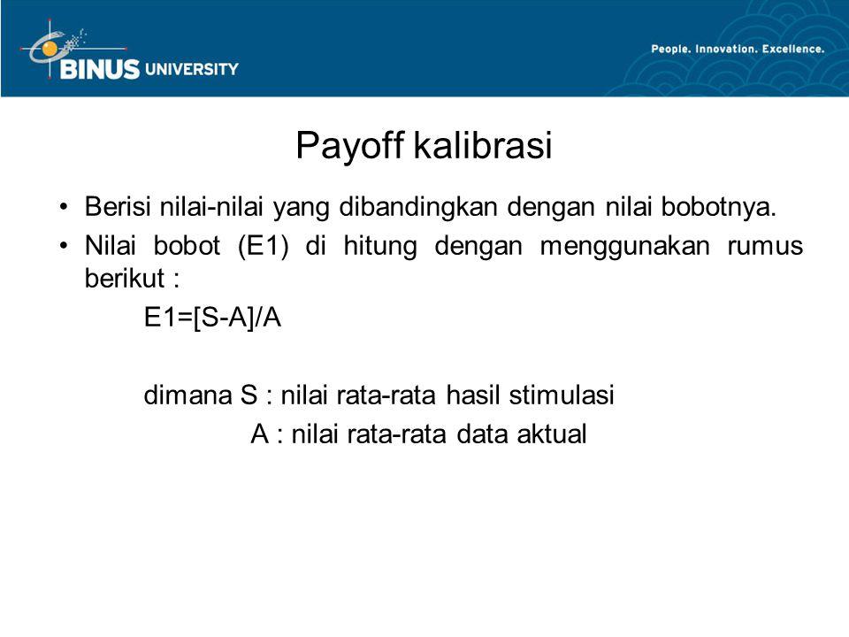 Payoff kalibrasi Berisi nilai-nilai yang dibandingkan dengan nilai bobotnya. Nilai bobot (E1) di hitung dengan menggunakan rumus berikut :