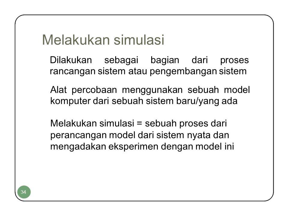 Melakukan simulasi Dilakukan sebagai bagian dari proses rancangan sistem atau pengembangan sistem.