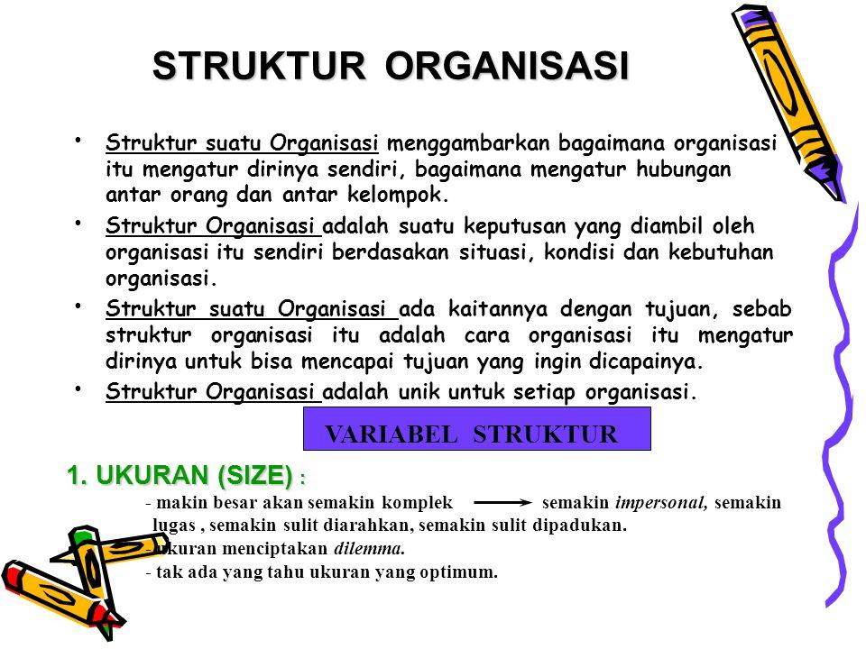 STRUKTUR ORGANISASI VARIABEL STRUKTUR 1. UKURAN (SIZE) :