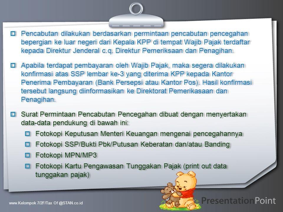 Fotokopi Keputusan Menteri Keuangan mengenai pencegahannya