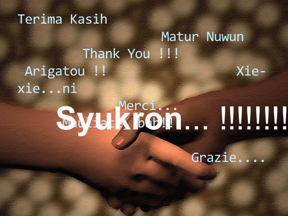 Terima Kasih. Matur Nuwun. Thank You. Arigatou. Xie-xie. ni. Merci