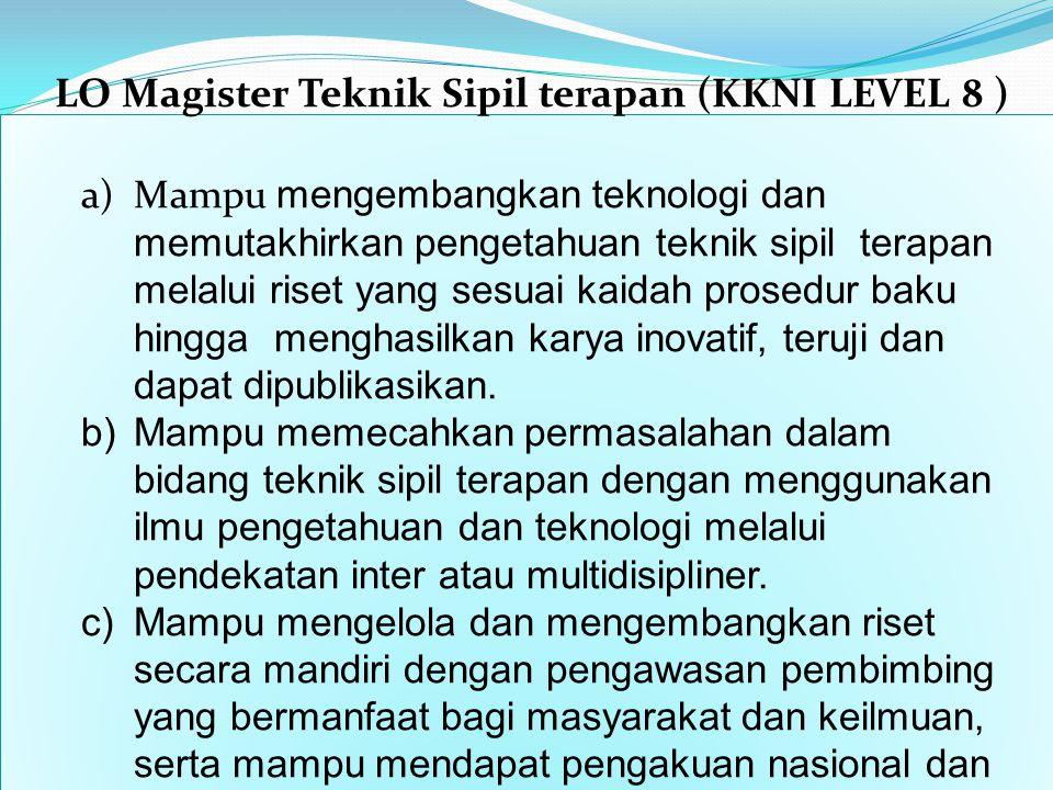 LO Magister Teknik Sipil terapan (KKNI LEVEL 8 )