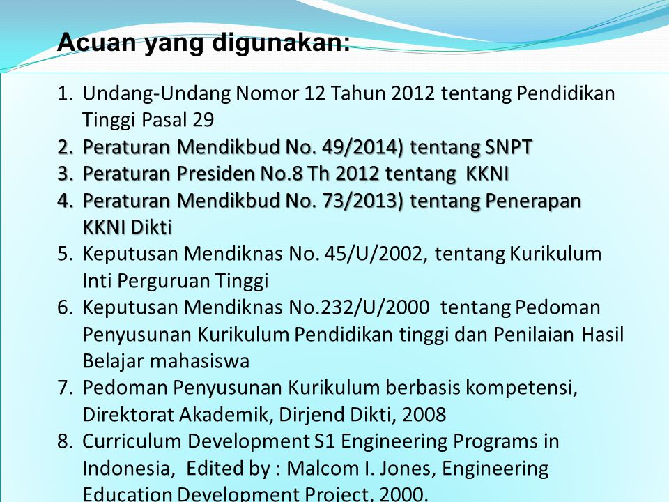 Acuan yang digunakan: Undang-Undang Nomor 12 Tahun 2012 tentang Pendidikan Tinggi Pasal 29. Peraturan Mendikbud No. 49/2014) tentang SNPT.