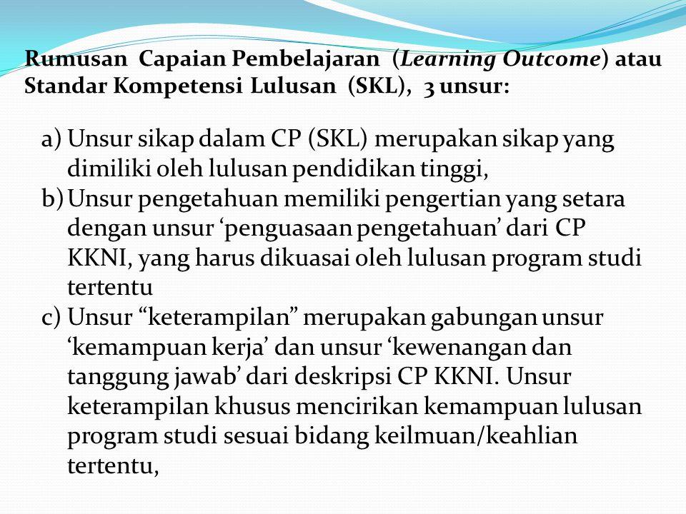 Rumusan Capaian Pembelajaran (Learning Outcome) atau