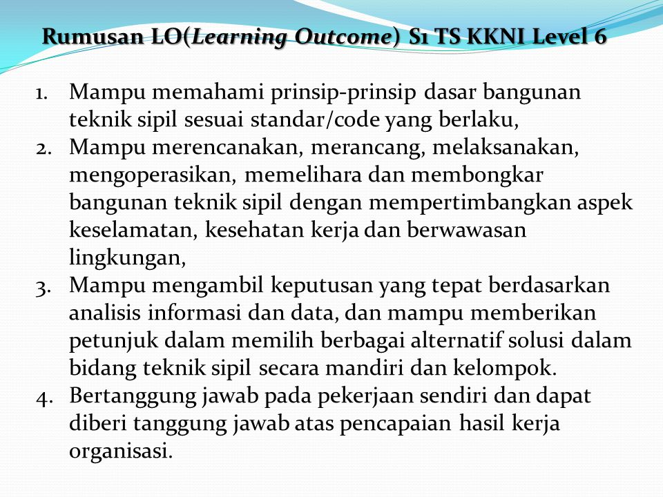 Rumusan LO(Learning Outcome) S1 TS KKNI Level 6