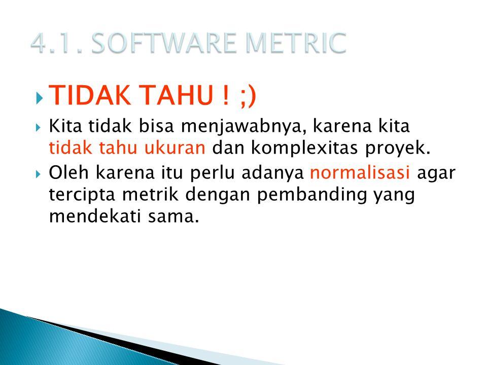 4.1. SOFTWARE METRIC TIDAK TAHU ! ;)