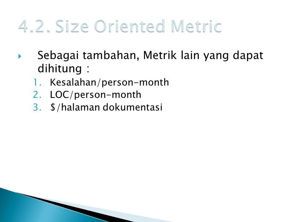 4.2. Size Oriented Metric Sebagai tambahan, Metrik lain yang dapat dihitung : Kesalahan/person-month.